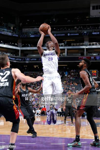 Harry Giles of the Sacramento Kings shoots the ball against the Miami Heat during the 2018 Summer League at the Golden 1 Center on July 5 2018 in...