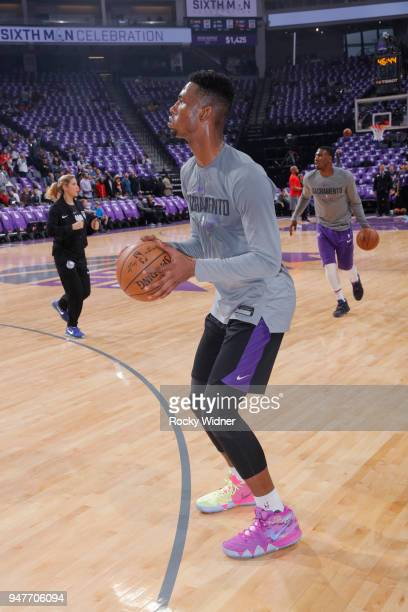 Harry Giles of the Sacramento Kings warms up prior to the game against the Houston Rockets on April 11 2018 at Golden 1 Center in Sacramento...