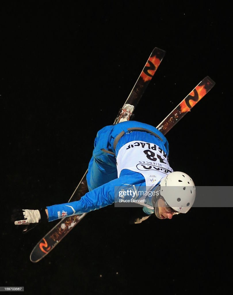 Harry Gillam #38 of Great Britain jumps in the USANA Freestyle World Cup aerial competition at the Lake Placid Olympic Jumping Complex on January 18, 2013 in Lake Placid, New York.