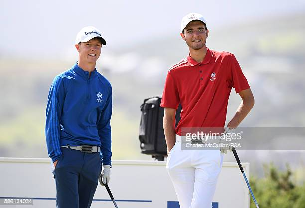 Harry Goddard of England and Darren Howie of Scotland during the Boys Home International Cup at Ballyliffin Golf Club on August 4 2016 in Donegal...