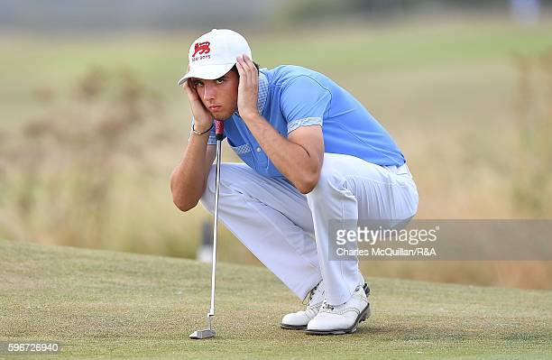 Harry Goddard of Great Britain and Ireland Boys golf team during the second and final day's play of the Jacques Leglise trophy against the Continent...