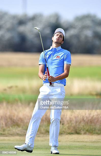 Harry Goddard of the Great Britain and Ireland Boys golf team during the second and final day's play of the Jacques Leglise trophy at Prince's Golf...