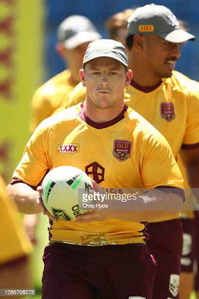 Harry Grant passes during a Queensland Maroons state of origin training session at Cbus Super Stadium on November 15, 2020 in Gold Coast, Australia.