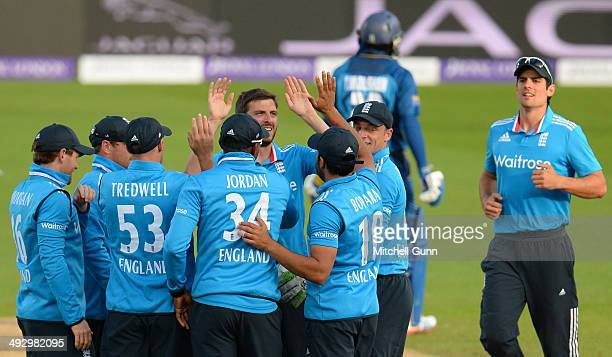 Harry Gurney of England celebrates taking the wicket of Kumar Sangakkara of Sri Lanka during the England v Sri Lanka first one day international...