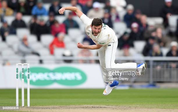 Harry Gurney of Nottinghamshire bowls during the four day of Specsavers County Championship Division One match between Lancashire and Nottinghamshire...