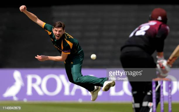 Harry Gurney of Nottinghamshire bowls to Craig Overton of Somerset during the Royal London one-day semi-final between Nottinghamshire and Somerset at...