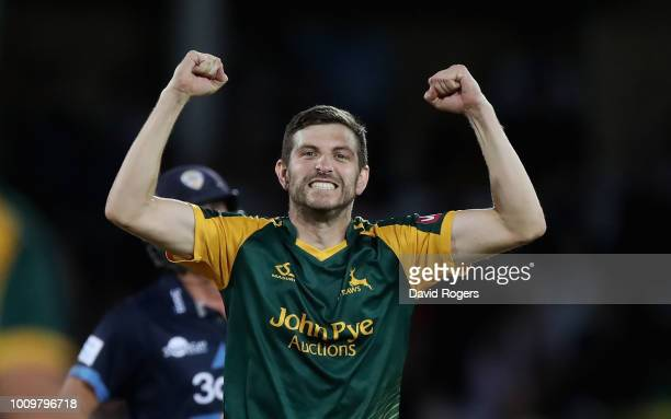 Harry Gurney of Nottinghamshire celebrates after taking the wicket of Matt Critchley during the Vitality Blast match between Nottinghamshire Outlaws...