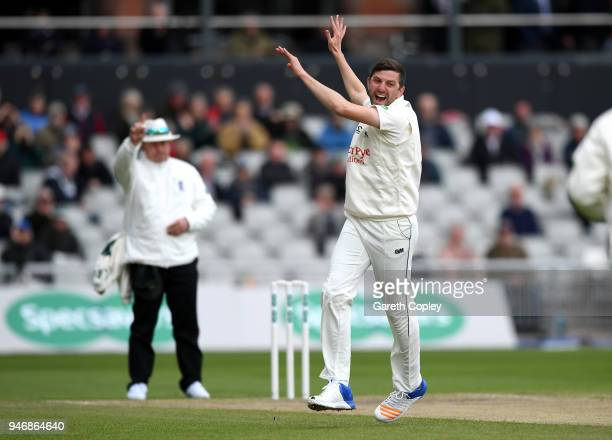 Harry Gurney of Nottinghamshire celebrates dismissing Keaton Jennings of Lancashire during the four day of Specsavers County Championship Division...