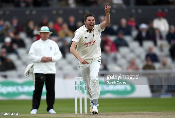 Harry Gurney of Nottinghamshire celebrates dismissing Shivnarine Chanderpaul of Lancashire during the four day of Specsavers County Championship...