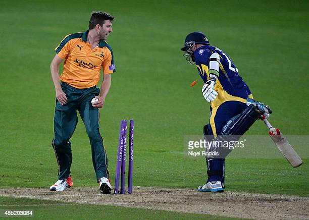 Harry Gurney of Nottinghamshire takes the wicket the of Chris Rushworth of Durham during the Royal London OneDay Cup Quarter Final between...