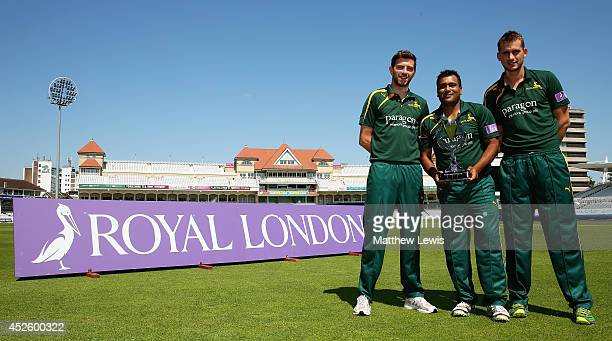 Harry Gurney Samit Patel and Alex Hales of Nottinghamshire County Cricket Club launch the Royal London One Day Cup at Trent Bridge on July 24 2014 in...