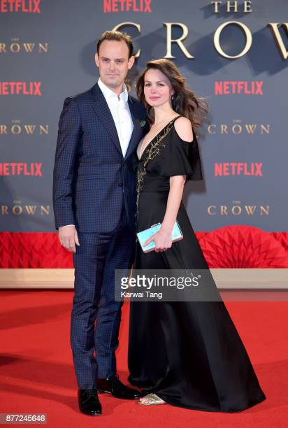 Harry HaddenPaton and Rebecca Night attend the World Premiere of Netflix's 'The Crown' Season 2 at Odeon Leicester Square on November 21 2017 in...