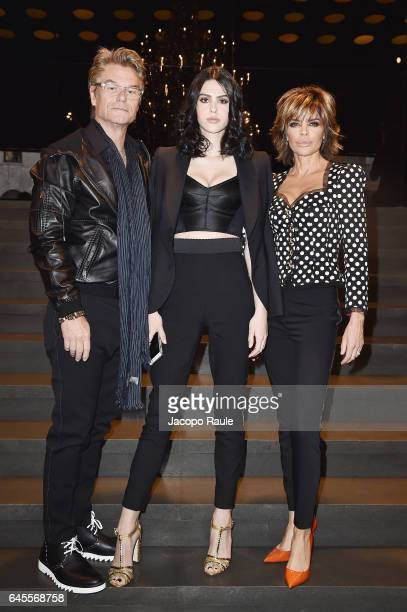 Harry Hamlin Amelia Gray Hamlin and Lisa Rinna attend the Dolce Gabbana show during Milan Fashion Week Fall/Winter 2017/18 on February 26 2017 in...