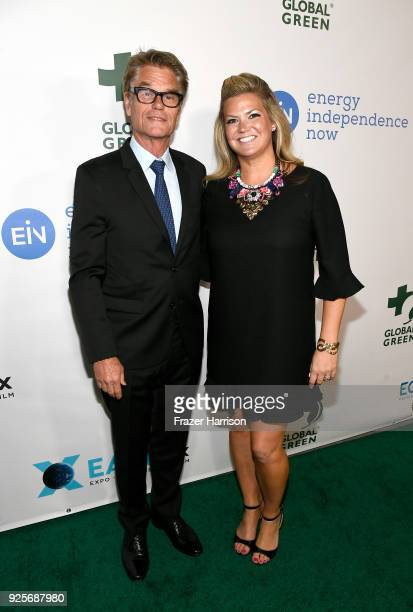 Harry Hamlin and honoree Ashley Grosh attend the 15th Annual Global Green Pre Oscar Party at NeueHouse Hollywood on February 28 2018 in Los Angeles...