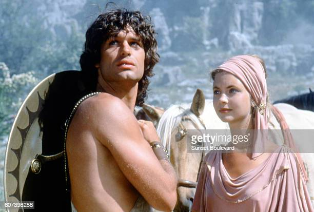 Harry Hamlin and Judi Bowker on the set of Clash of the Titans