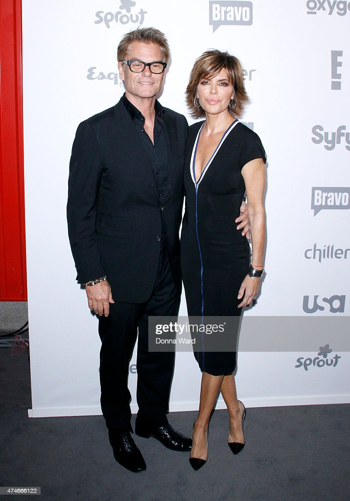 Harry Hamlin and Lisa Rinna appear during the 2015 NBCUniversal Cable Entertainment Upfront at The Jacob K. Javits Convention Center on May 14, 2015 in New York City.