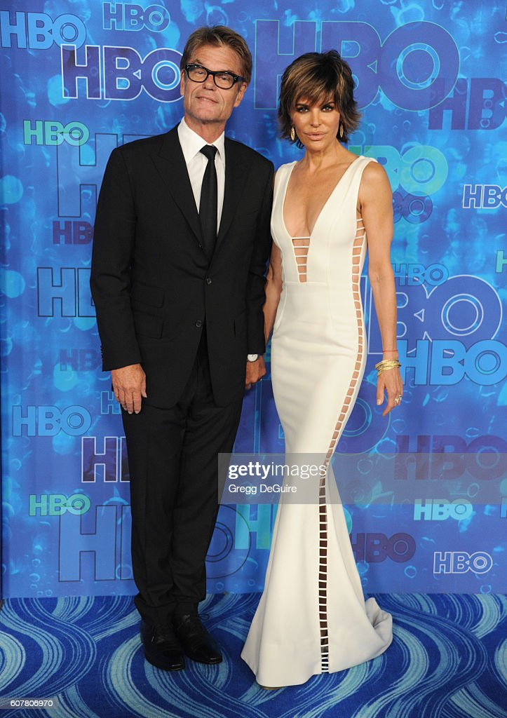 Harry Hamlin and Lisa Rinna arrive at HBO's Post Emmy Awards Reception at The Plaza at the Pacific Design Center on September 18, 2016 in Los Angeles, California.