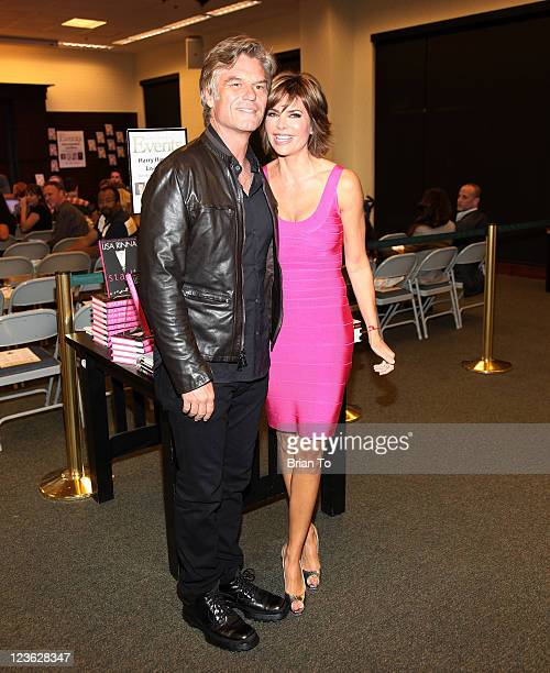 Harry Hamlin and Lisa Rinna attend a book signing for their books Full Frontal Nudity and Starlit at Barnes Noble bookstore at The Grove on October...