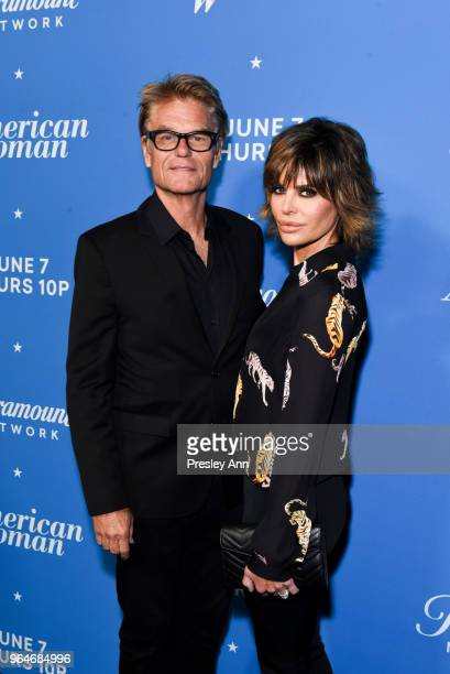 Harry Hamlin and Lisa Rinna attend Premiere Of Paramount Network's 'American Woman' Arrivals at Chateau Marmont on May 31 2018 in Los Angeles...