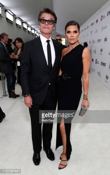 Harry Hamlin and Lisa Rinna attend the 27th annual Elton John AIDS Foundation Academy Awards Viewing Party sponsored by IMDb and Neuro Drinks...
