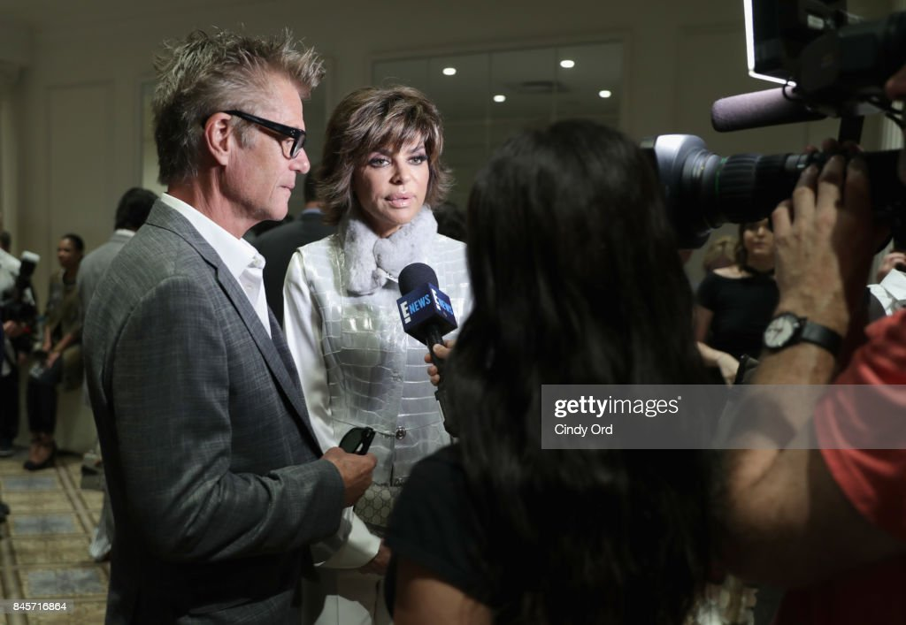 Harry Hamlin and Lisa Rinna interviewed backstage at Dennis Basso fashion show during New York Fashion Week: The Shows at The Plaza Hotel on September 11, 2017 in New York City.