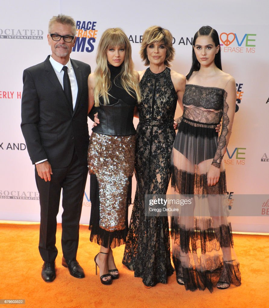 Harry Hamlin, Delilah Belle Hamlin, Lisa Rinna and Amelia Gray Hamlin arrive at the 24th Annual Race To Erase MS Gala at The Beverly Hilton Hotel on May 5, 2017 in Beverly Hills, California.