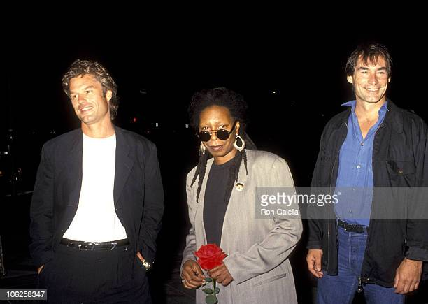Harry Hamlin Whoopi Goldberg and Timothy Dalton during Sarafina Los Angeles Premiere at Los Angeles County Museum of Art in Los Angeles California...