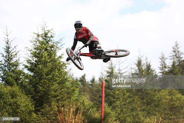 Harry Heath of Great Britain competes in the Men's Downhill at the UCI Mountain Bike World Cup on June 5 2016 in Fort William Scotland
