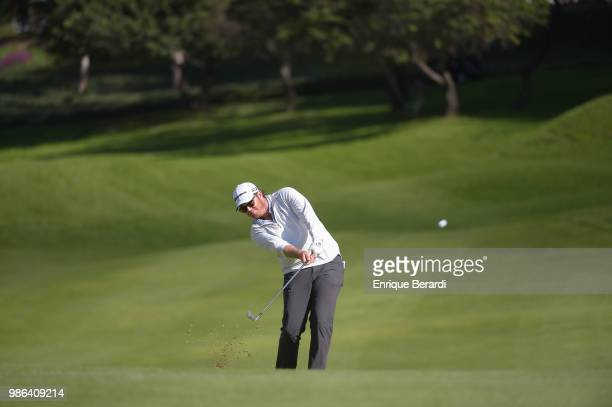 Harry Higgs of the United States hits from the 18th fairway during the final round of the PGA TOUR Latinoamerica 59º Abierto Mexicano de Golf at Club...