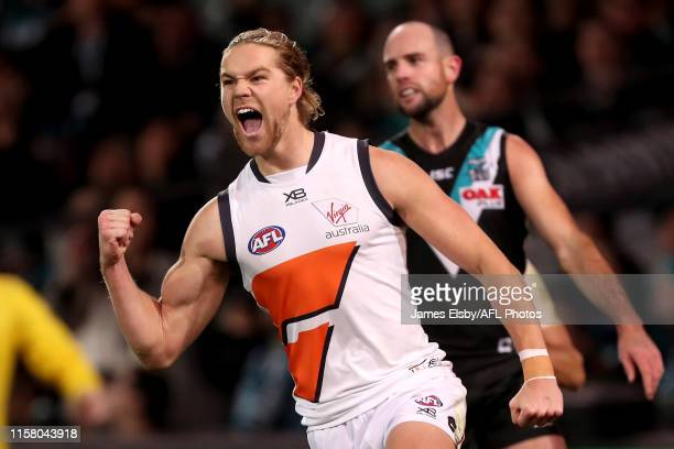 Harry Himmelberg of the Giants celebrates a goal during the 2019 AFL round 19 match between the Port Adelaide Power and the GWS Giants at Adelaide...