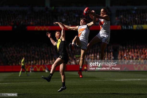 Harry Himmelberg of the Giants takes a mark during the 2019 AFL Grand Final match between the Richmond Tigers and the Greater Western Sydney Giants...