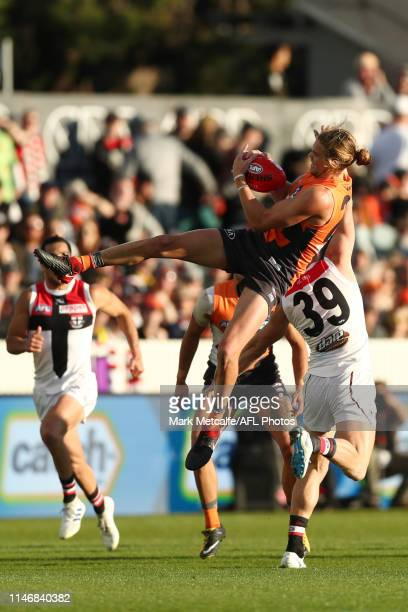 Harry Himmelberg of the Giants takes a mark during the round seven AFL match between the Greater Western Sydney Giants and the St Kilda Saints at...