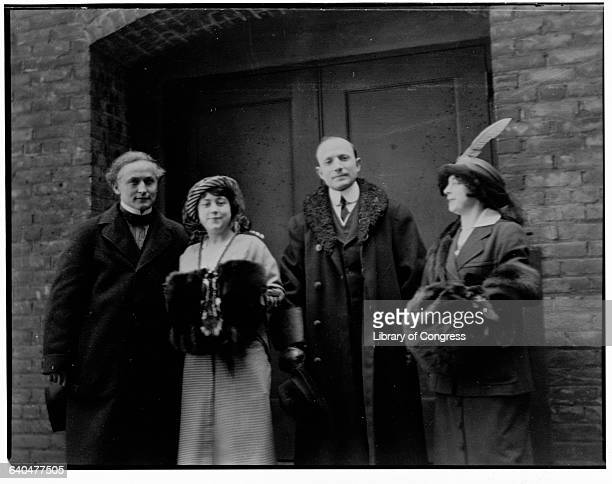 Harry Houdini and his wife Beatrice stand with Doctor and Bess Hayman Cleaveland Ohio