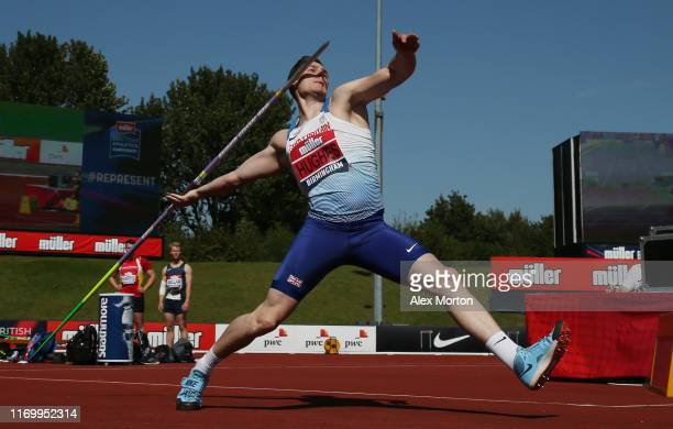 Harry Hughes competes in the javelin during Day One of the Muller British Athletics Championships at the at Alexander Stadium on August 24 2019 in...