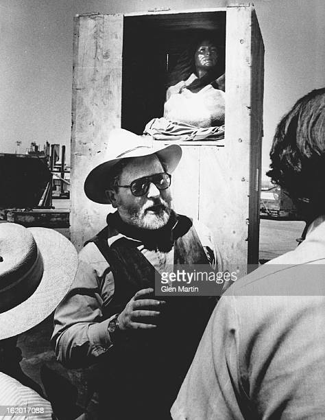 JUN 14 1980 JUN 26 1980 Harry Jackson tells reporters about his statue Statue of Sacagawea behind him will go to Buffalo Bill Museum in Cody