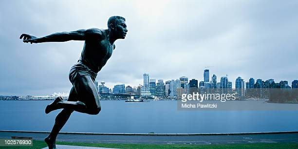 Harry Jerome Statue in front of Vancouver BC
