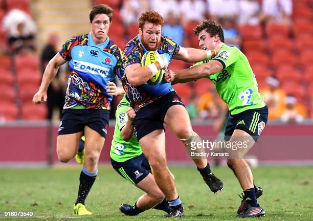 Harry JohnsonHolmes of the Waratahs takes on the defence during the 2018 Global Tens match between the New South Wales Waratahs and the Highlanders...