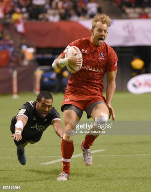 Harry Jones of Canada scores a try against New Zealand during the HSBC Canada Sevens Vancouver tournament at BC Place Stadium in Vancouver March 11th...