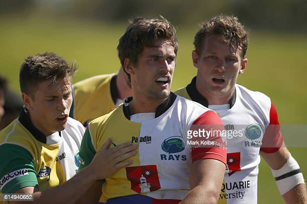 Harry Jones of the Rays celebrates with his team mates after scoring a try during the NRC Semi Final match between the Sydney Rays and Perth Spirit...