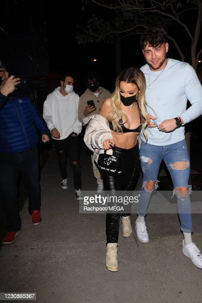 Harry Jowsey and Tana Mongeau enjoy a date night at Boa Steakhouse on January 29, 2021 in Los Angeles, California.