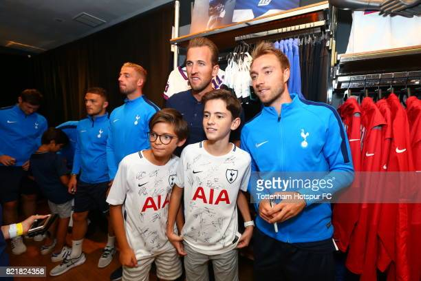 Harry Kane and Christian Eriksen of Tottenham Hotspur FC pose with fans on a visit to Nike Town on Tottenham Hotspur PreSeason Tour to the US on July...