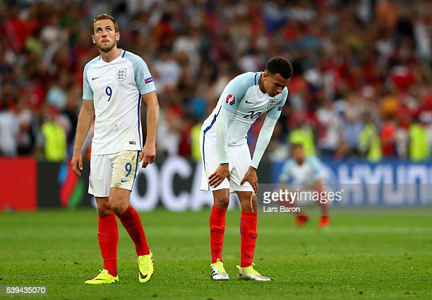 Harry Kane and Dele Alli of England show their dejection after their 11 draw in the UEFA EURO 2016 Group B match between England and Russia at Stade...