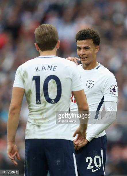 Harry Kane and Dele Alli of Tottenham Hotspur speak during the Premier League match between Tottenham Hotspur and AFC Bournemouth at Wembley Stadium...
