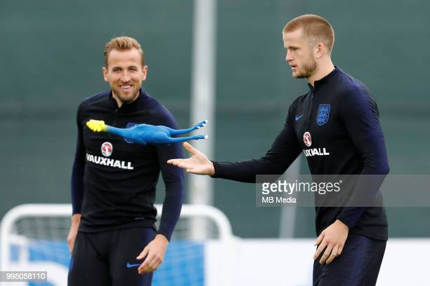 Harry Kane and Eric Dier during an England training session ahead of the 2018 FIFA World Cup Russia SemiFinal match against Croatia on July 10 2018...