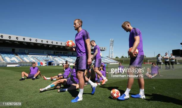 Harry Kane and Eric Dier of Tottenham Hotspur during the Tottenham Hotspur training session at Real Madrid Training Complex on May 30 2019 in Madrid...