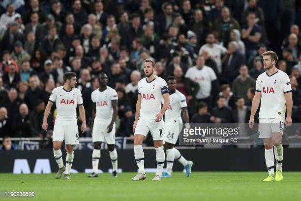 Harry Kane and Eric Dier of Tottenham Hotspur react after the second Olympiacos goal during the UEFA Champions League group B match between Tottenham...