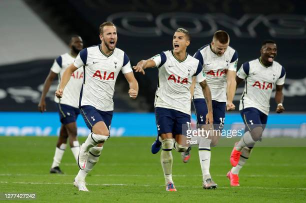 Harry Kane and Erik Lamela of Tottenham Hotspur celebrate following their team's victory in in the penalty shoot out and the Carabao Cup fourth round...