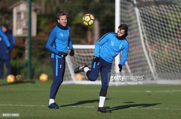 Harry Kane and Harry Winks of Tottenham Hotspur during the Tottenham Hotspur training session at Tottenham Hotspur Training Centre on December 15...