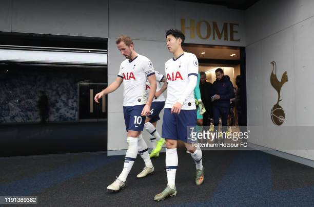 Harry Kane and HeungMin Son of Tottenham Hotspur during the Premier League match between Tottenham Hotspur and AFC Bournemouth at Tottenham Hotspur...