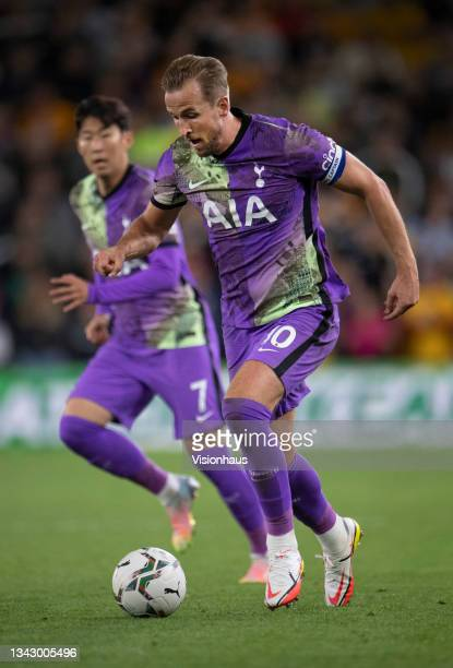 Harry Kane and Heung-Min Son of Tottenham Hotspur in action during the Carabao Cup Third Round match between Wolverhampton Wanderers and Tottenham...
